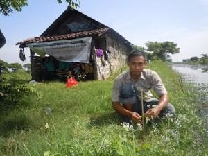 池の周囲に植樹をするATINAスタッフ