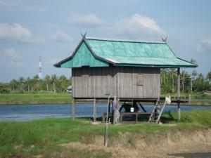 池の畔にある小屋も千木