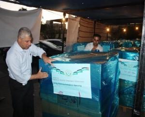 荷造りされた支援物資
