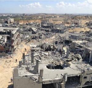 イスラエル軍の攻撃で破壊されたガザの街並み