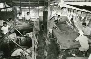 初期のころのマスコバド糖製糖工場は簡素なものでした。