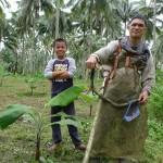 新規作つけしたバナナの畑を草刈り中の生産者(2017年10月撮影)